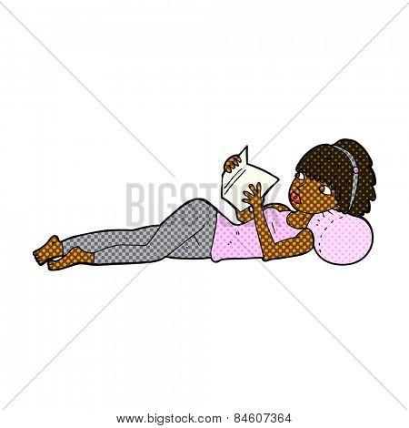 retro comic book style cartoon pretty woman reading book