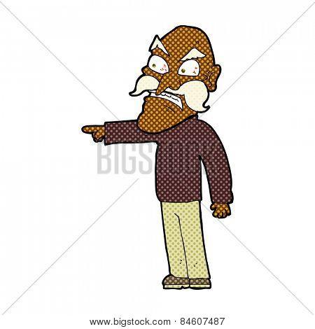 retro comic book style cartoon furious old man