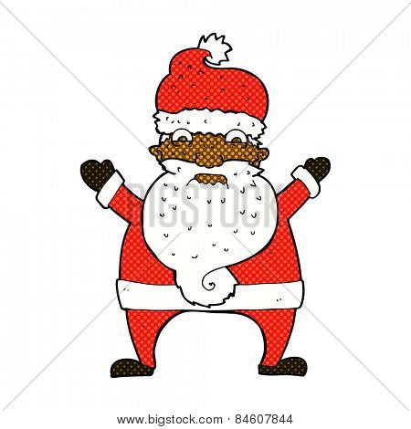 retro comic book style cartoon stressed out santa