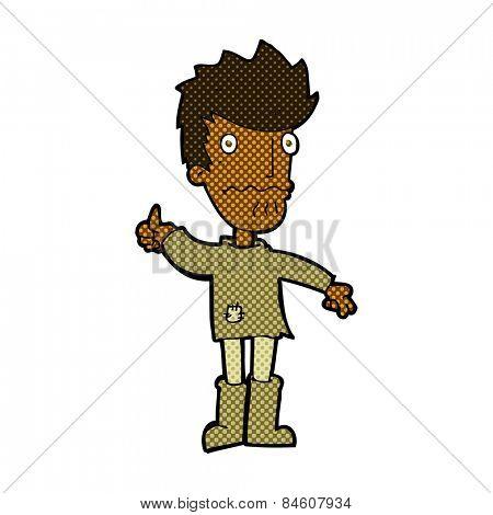retro comic book style cartoon nervous man giving thumbs up symbol