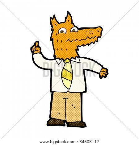 retro comic book style cartoon business fox with idea