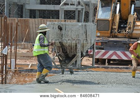 A construction workers casting for ground floor slab