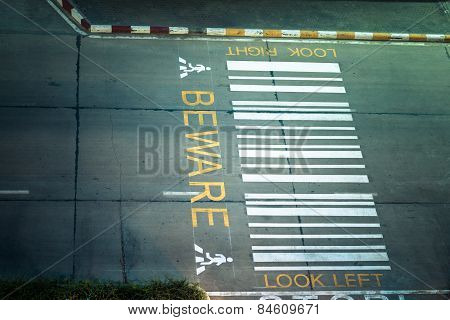 Zebra Crossing, On Urban Asphalt Road For Passenger Or People And Transportation At Night Time, Top