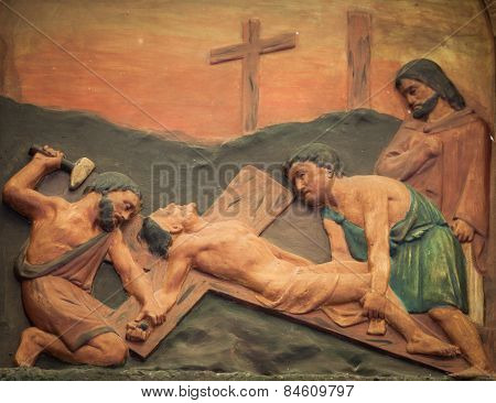 Bangkok Thailand - February 28 : The Carving Of Jesus Is Nailed To The Cross At Station Xi, Good Fri