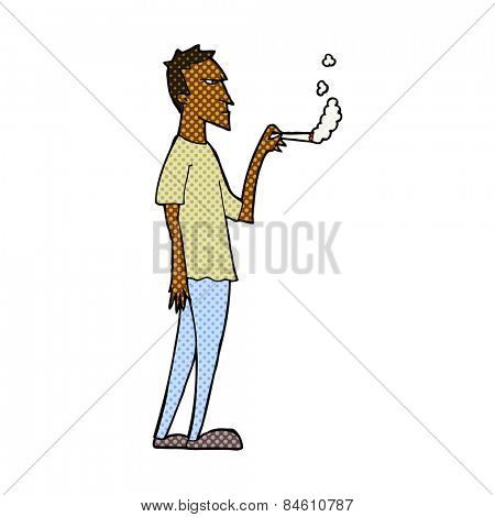 retro comic book style cartoon annoyed smoker