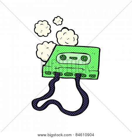 retro comic book style cartoon cassette tape