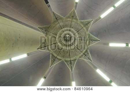 Inside dome of Negeri Sembilan State Mosque in Negeri Sembilan, Malaysia