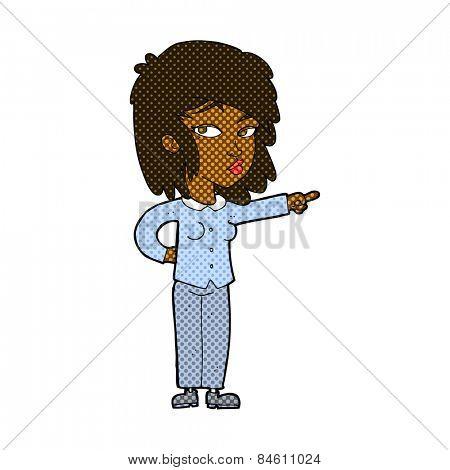 retro comic book style cartoon woman pointing