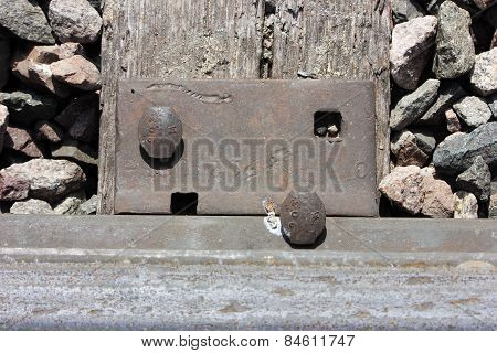Railroad tie and spike close up