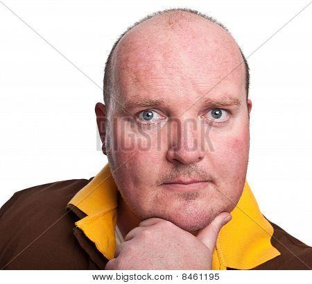 Portrait Serious Middle Age Man Close Up