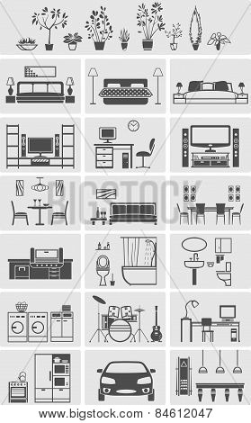 House Interior Elements Silhouette
