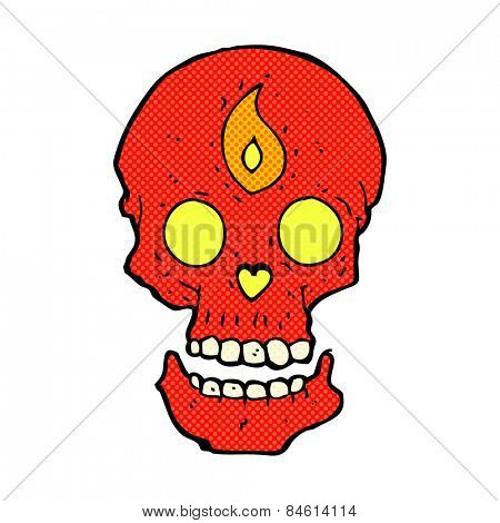 retro comic book style cartoon mystic skull