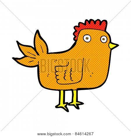 retro comic book style cartoon hen