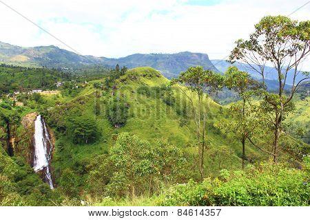 Waterfall Devon in hilly terrain