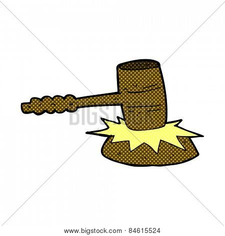 retro comic book style cartoon gavel banging