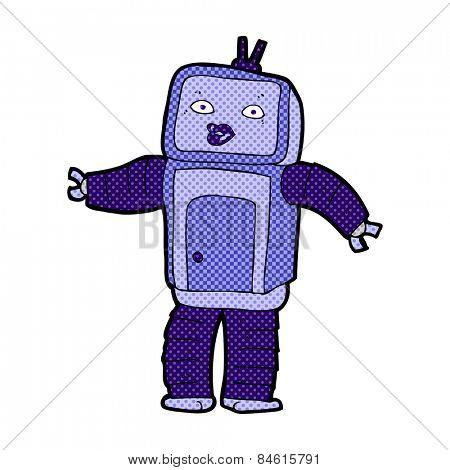 funny retro comic book style cartoon robot