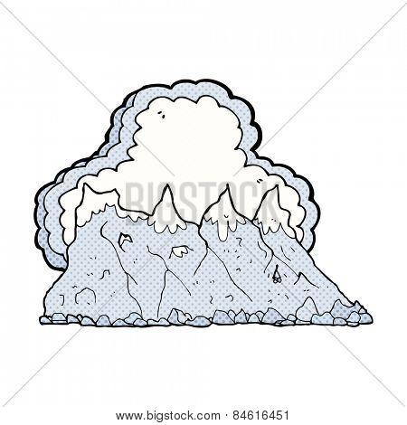 retro comic book style cartoon mountain range