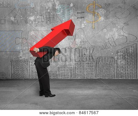 Businessman Carrying Big Red Arrow Sign With Business Concept Doodles