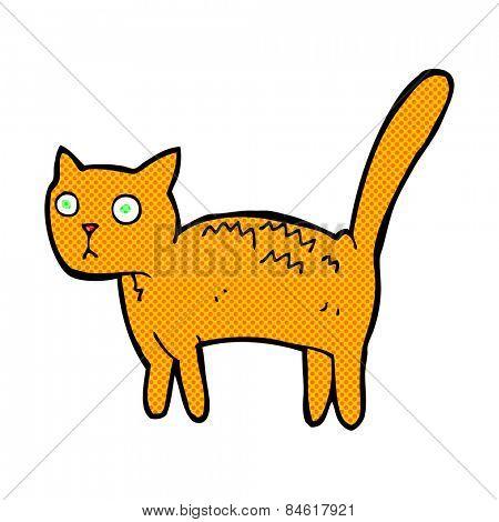 retro comic book style cartoon frightened cat