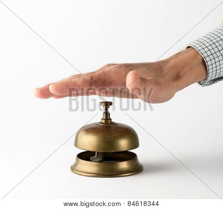 Male Hand Ringing Brass Service Bell