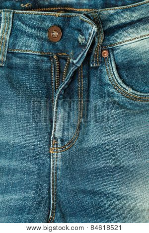 Close Up Blue Jeans Zip