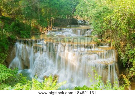 Level Four Of Huay Maekamin Waterfall In Kanchanaburi Province, Thailand