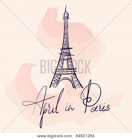 Vector Illustration With Eiffel Tower