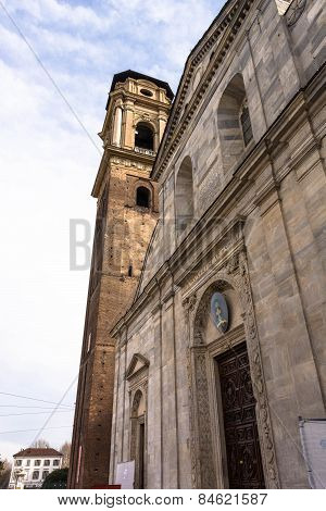 The facade and the Bell Tower of the Turin Cathedral