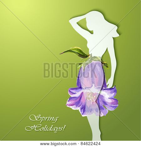 Beautiful young woman silhouette with flower