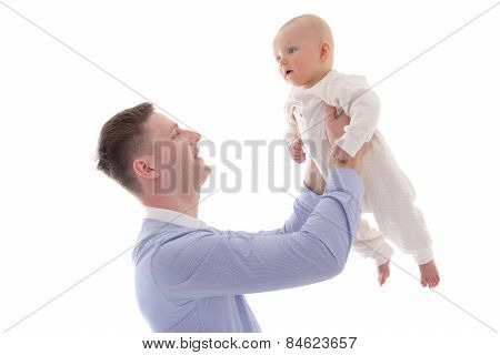 Young Man Holding His Little Son Isolated On White