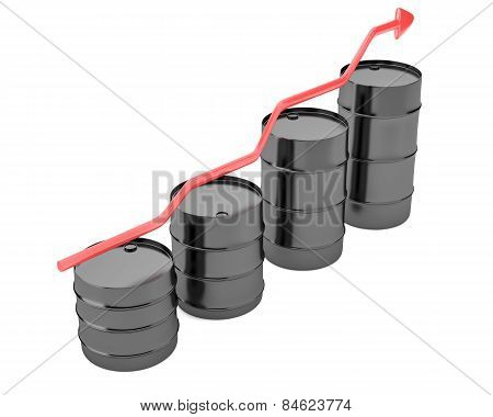 Four Oil Barrels With Increasing Up Red Arrow