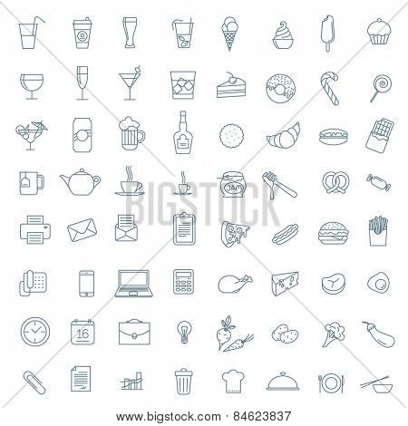 Thin line vector  icon collection.