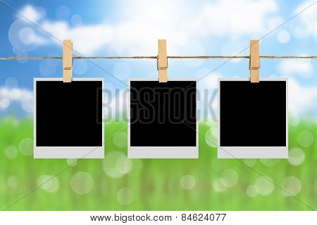 Photo Frame Over Green Nature Background