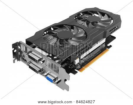 Graphics card isolated on white background