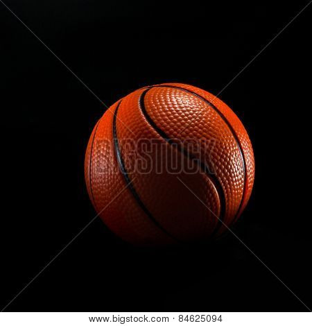 basketball ball isolated on black background