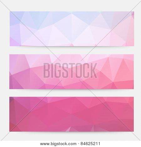 pink banner vector Geometric Triangle Banners.