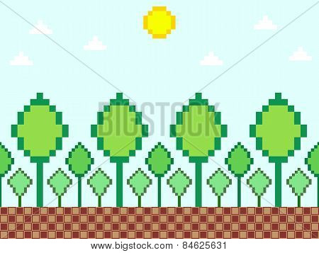 Pixel style nature background