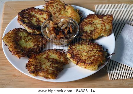 Potato Pancakes With Lard And Fried Onion