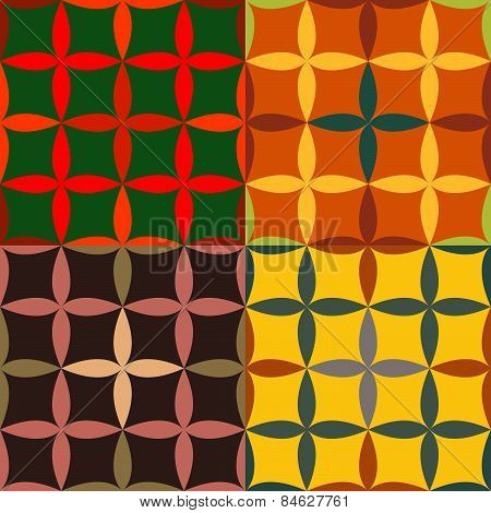 Set Of Seamless Patterns With Pointed Ovals