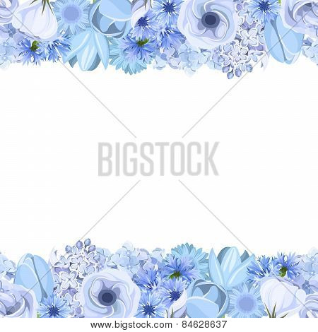 Horizontal seamless background with blue flowers. Vector illustration..eps