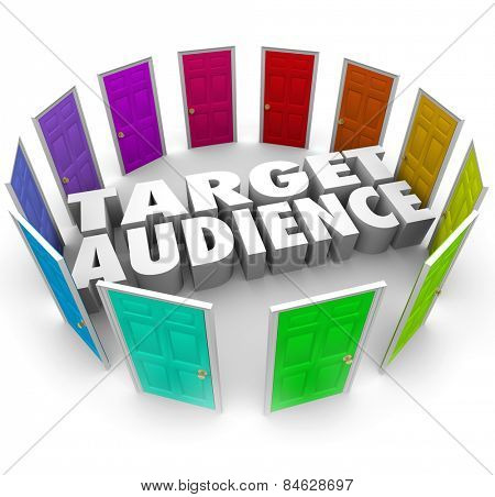 Target Audience words in 3d letters surrounded by many doors of opportunities for growing your business