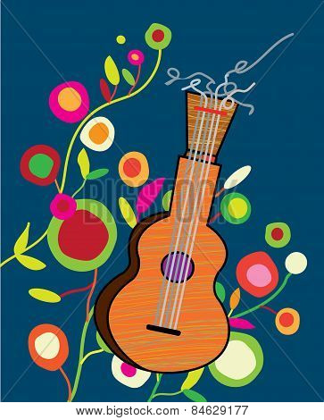Musical background wtih guitar and flower