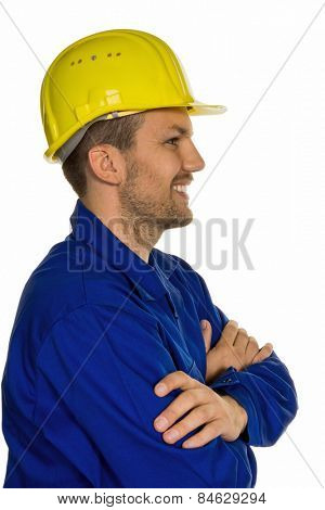 a worker in an industrial enterprise (craftsmen) with helmet
