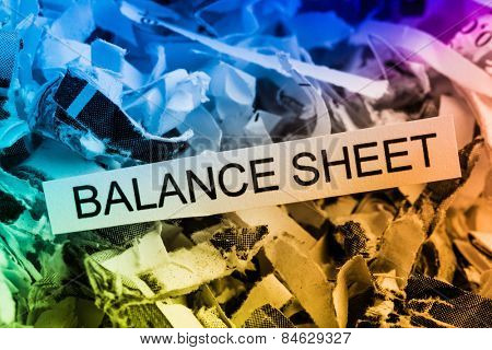 shredded paper tagged with balance sheet, symbolic photo for data destruction, budgets and accounting
