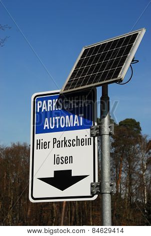 Solar-powered parking ticket dispenser