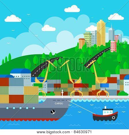 Commercial Dock in flat style design. Vector Illustration