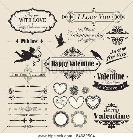 Scrapbook Design Elements - Vintage Valentine's Love Set - for design, scrapbook - in vector Vintage