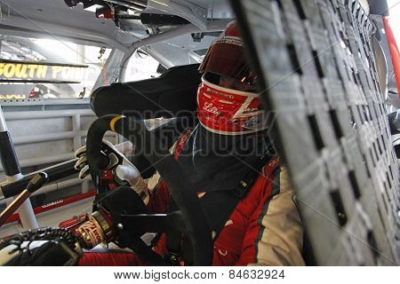 Daytona Beach, FL - Feb 20, 2015:  Ryan Reed (16) straps in to qualify for the Alert Today Florida 300 at Daytona International Speedway in Daytona Beach, FL.