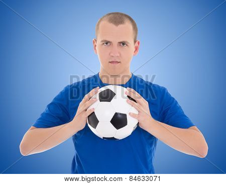 Soccer Player With A Ball Over Blue