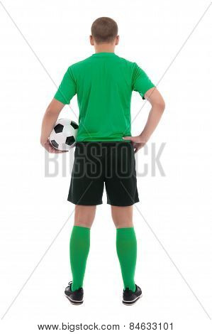 Back View Of Soccer Player In Green Uniform Isolated On White